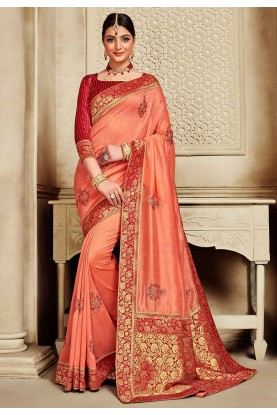 Peach Colour Silk Traditional Saree.