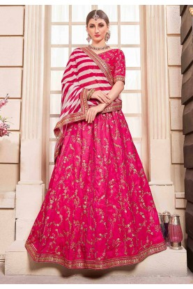 Flossy Pink Colour Wedding Lehenga Choli.