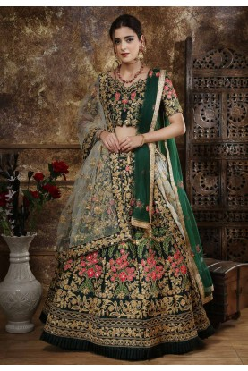 Green Colour Designer Lehenga Choli.