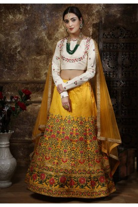 Yellow Colour Silk Indian Designer Lehenga Choli.
