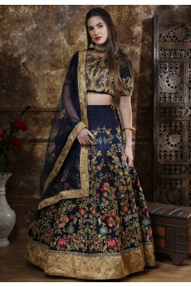 Fabulous Navy Blue Colour Party Wear Lehenga.