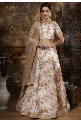 Silk Designer Lehenga Choli Peach Colour.
