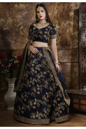 Navy Blue Colour Engagement Lehenga.