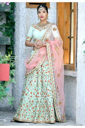 Mint Green Colour Traditional Lehenga Choli.
