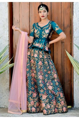 Teal Blue Colour Designer Lehenga Choli.