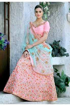 Light Pink Colour Silk Designer Lehenga Choli.