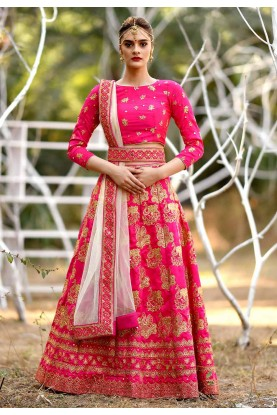Pink Colour Indian Wedding Lehenga Choli.