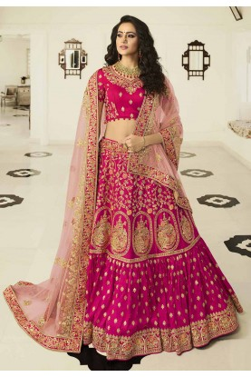 Rani Pink Colour Designer Wedding Lehenga Choli.