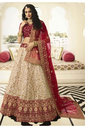 Engagement Lehenga Choli Off White Colour.