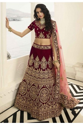Maroon Colour Velvet Lehenga Choli.