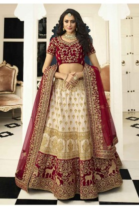 Off White Colour Satin,Silk Party Wear Lehenga Choli.