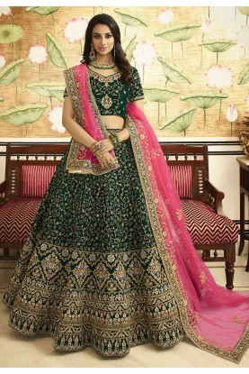 Green Colour Indian Designer Lehenga.