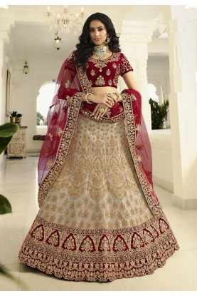 Party Wear Lehenga Choli Off White Colour.