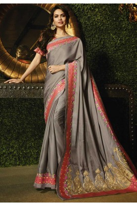Grey Colour Bollywood Saree.