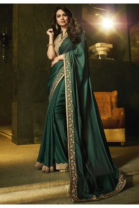 Green Colour Silk Party Wear Saree.