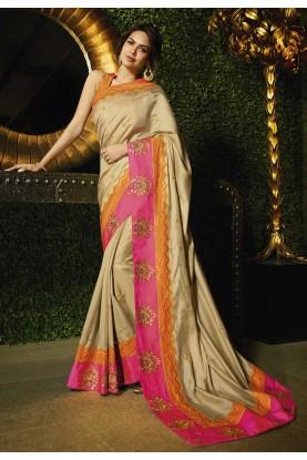 Golden Colour Indian Designer Sari.