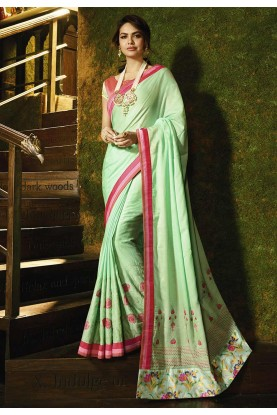 Green Colour Silk Sari.