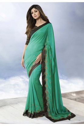 Green Colour Silk Sarees.
