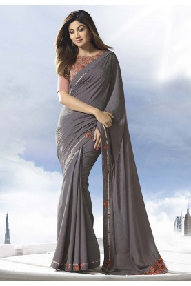 Grey Colour Satin,Silk Saree.