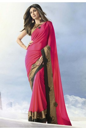 Party Wear Saree Pink Colour.