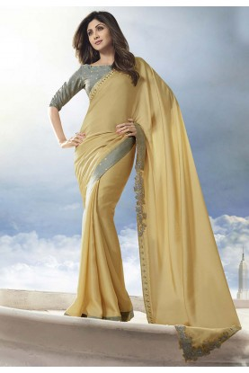 Yellow Colour Satin,Silk Designer Sari.