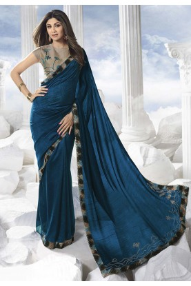 Teal Blue Colour Designer Saree.