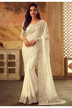 Party Wear Saree White Colour.