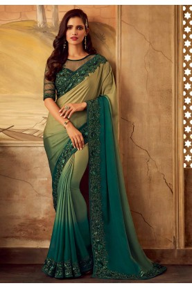 Green,Beige Colour Indian Designer Saree.