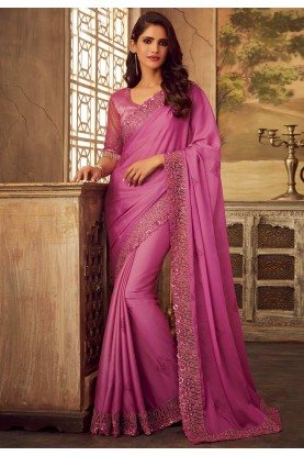 Pink Colour Designer Saree.