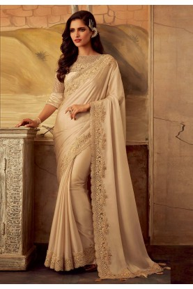 Cream Colour Silk Wedding Saree.