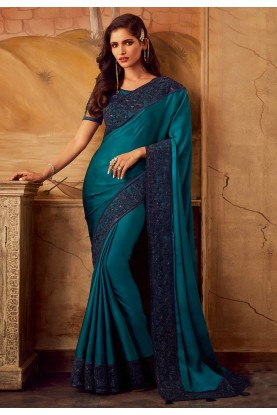 Teal Blue Colour Party Wear Sari.