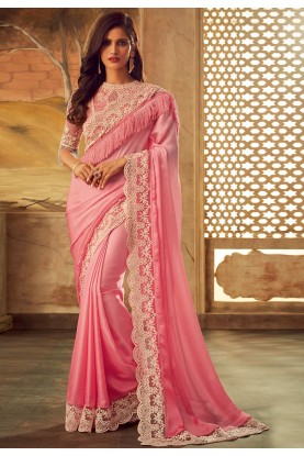 Light Pink Colour Designer Sari.