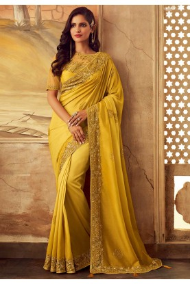 Yellow Colour Wedding Saree.