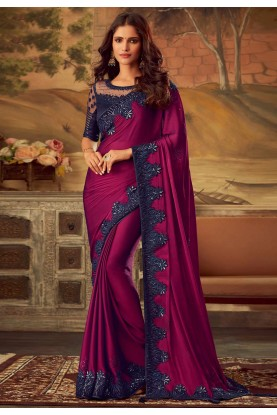 Purple Colour Party Wear Sari.
