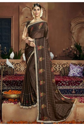 Brown Colour Casual Saree.