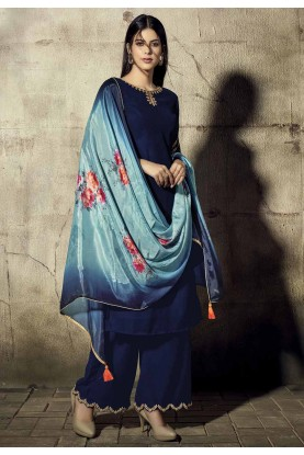 Royal Blue Colour Party Wear Salwar Suit.