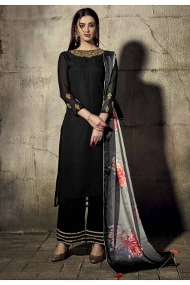 Georgette Salwar Suit Black Colour.