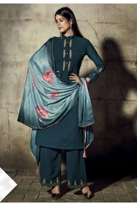 Teal Blue Colour Women Salwar Kameez.