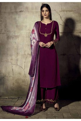 Purple Colour Palazzo Salwar Suit.