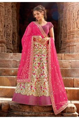 Cream Colour Designer Lehenga Choli.
