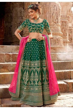 Traditional Lehenga Choli Green Colour.