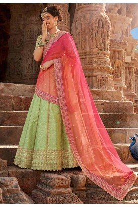 Pista Green Colour Wedding Lehenga.