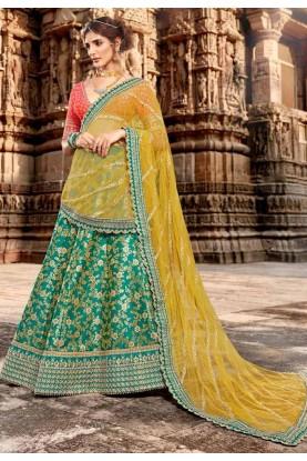 Turquoise Colour Jacquard Lehenga Choli.