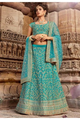 Sky Blue Colour Lehenga Choli.