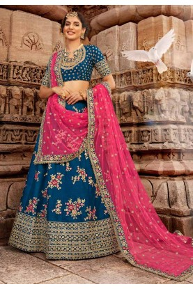 Blue Colour Silk Party Wear Lehenga.