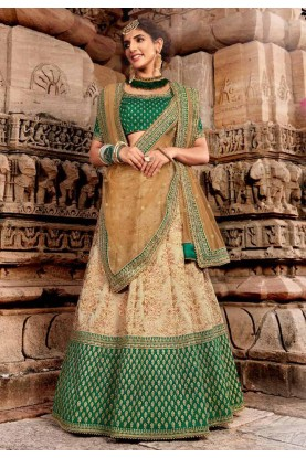 Beige,Green Colour Silk Lehenga Choli.