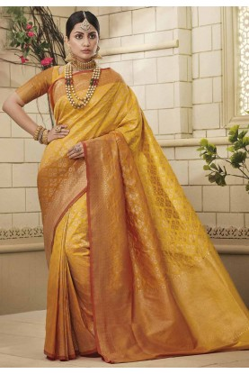 Yellow Colour Traditional Saree