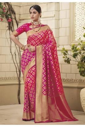 Pink Colour Party Wear Sari.