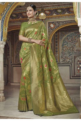 Traditional Saree Light Green Colour.