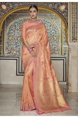 Peach Colour Indian Saree.
